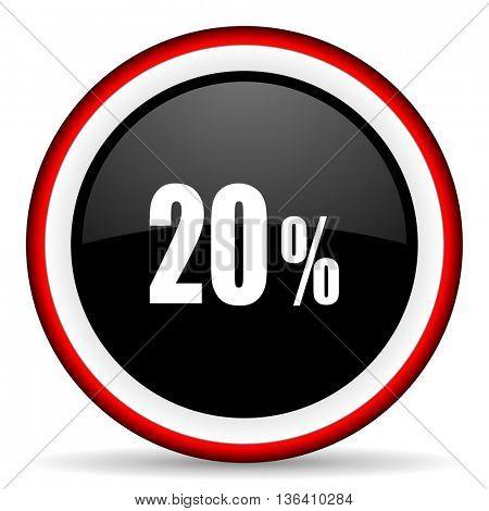 20 percent round glossy icon, modern design web element