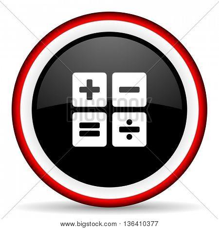 calculator round glossy icon, modern design web element