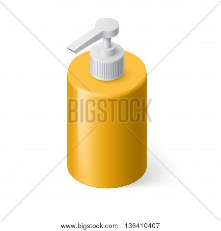 Isometric Yellow Bottle with Liquid Soap without Label