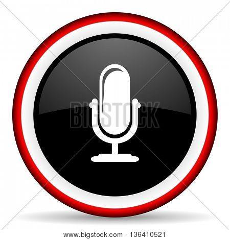 microphone round glossy icon, modern design web element
