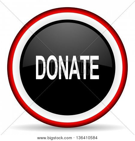 donate round glossy icon, modern design web element