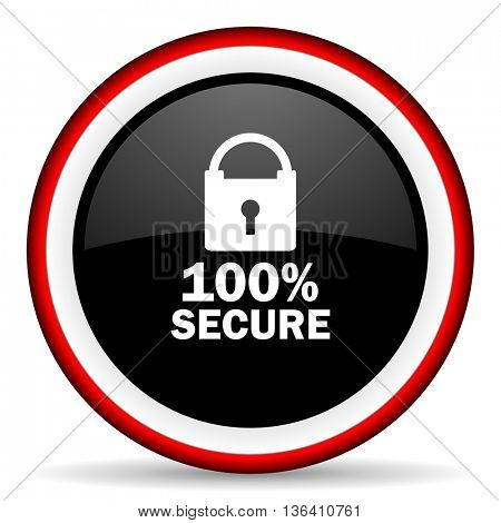 secure round glossy icon, modern design web element
