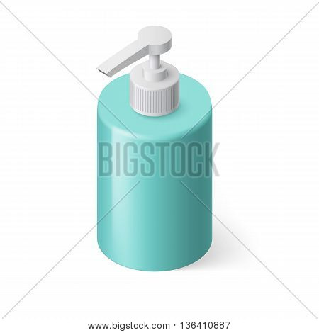 Isometric Aquamarin Bottle with Liquid Soap without Label