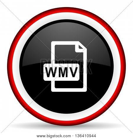wmv file round glossy icon, modern design web element