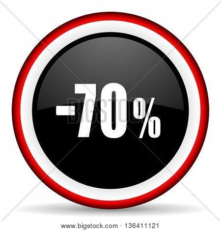 70 percent sale retail round glossy icon, modern design web element