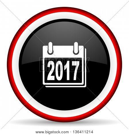 new year 2017 round glossy icon, modern design web element