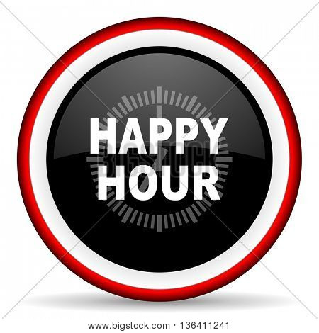 happy hour round glossy icon, modern design web element