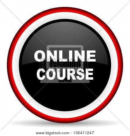 online course round glossy icon, modern design web element