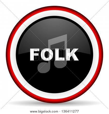 folk music round glossy icon, modern design web element