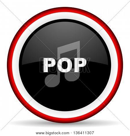 pop music round glossy icon, modern design web element