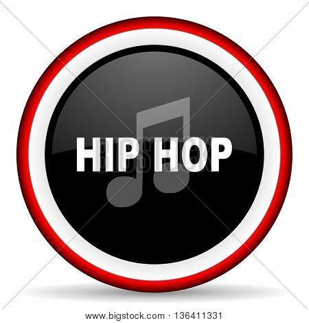 hip hop round glossy icon, modern design web element