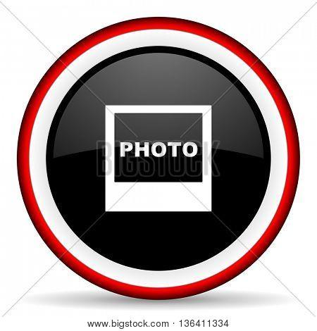 photo round glossy icon, modern design web element