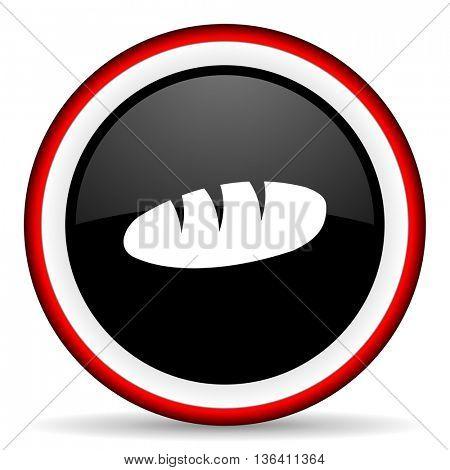 bread round glossy icon, modern design web element