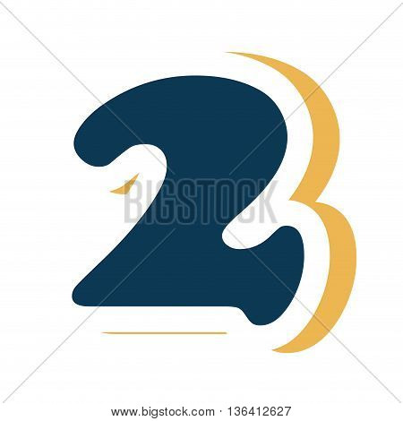 dark blue colorful two number with yellow color on the right side front view over isolated background, school concept, vector illustration