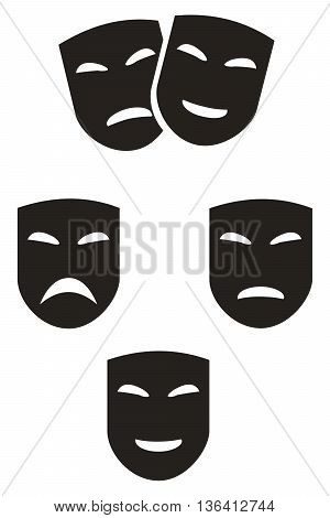 Masks icon set smiley face nightlife facial expression camouflage art actress