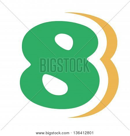 green colorful eight number with yellow color on the right side front view over isolated background, school concept, vector illustration