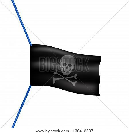 Pirate flag with skull symbol hanging on blue rope on white background