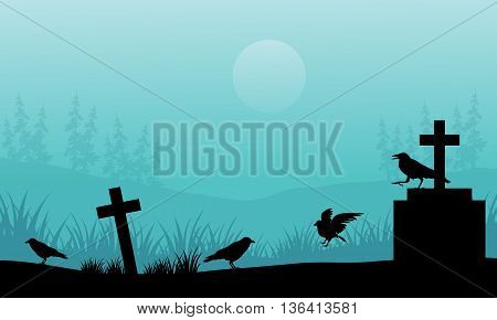 Silhouette of crow and tomb Halloween with fog illustration