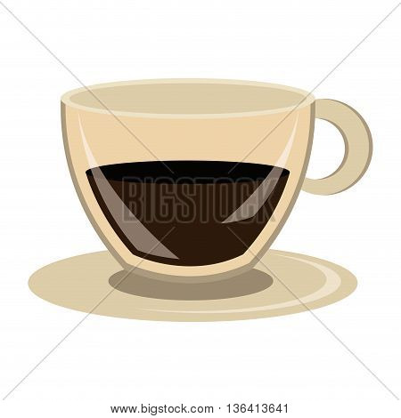 modern cup design with dark brown coffee front view over isolated background, vector illustration