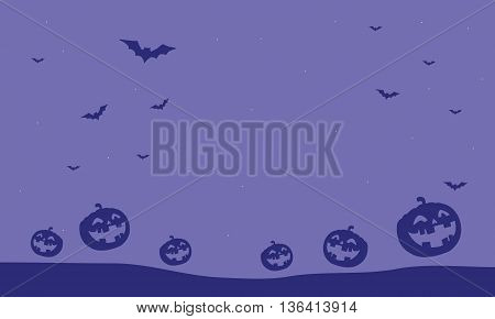 Purple backgrounds pumpkins and bat illustration Halloween vector art