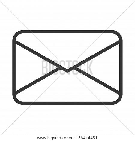 black  and white mail envelope over isolated background, communication concept, vector iilustration
