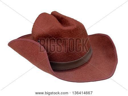 cowboy hat closeup isolated on a white background, cowboy hat