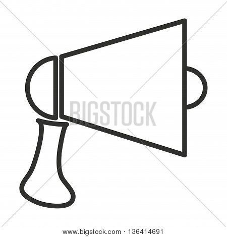 black and white megaphone side view over isolated background, vector illustration