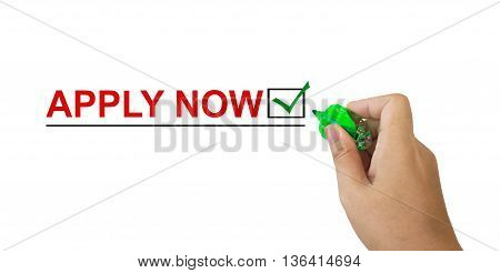 Text Apply Now In Red Colour With Isolated Hand