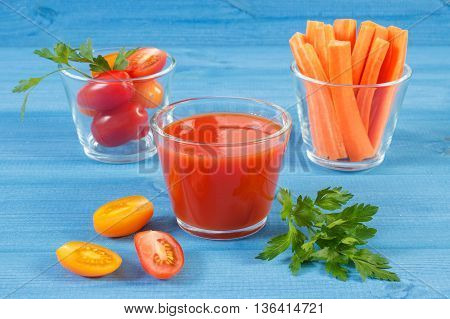 Tomato Juice And Vegetables On Blue Board, Healthy Nutrition