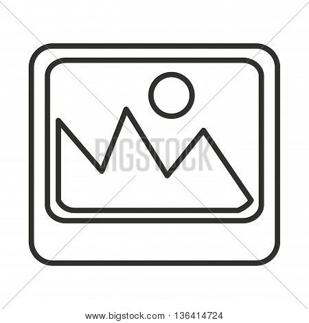 black and white photo icon with circle and mountains over isolated background, vector illustration