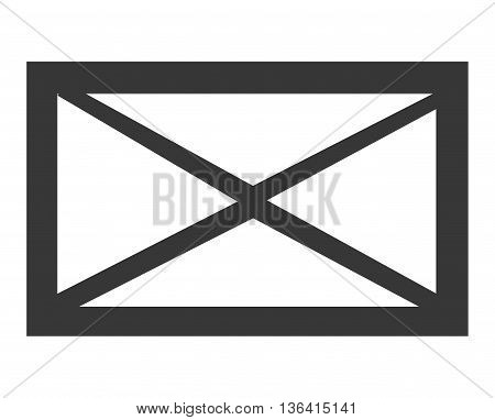 black and white mail envelope over isolated background, vector illustration