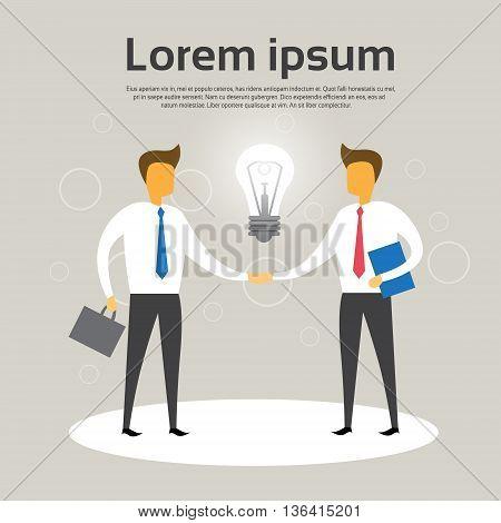 Business Man Shake Hand Agreement Concept Light Bulb Flat Vector Illustration