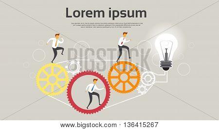 Businesspeople Run Cogwheel Light Bulb Teamwork Concept Flat Vector Illustration