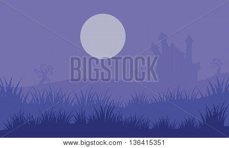Halloween foogy castle and moon vector illustration