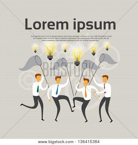 Business People Team Hold Net Catch Light Bulb Brainstorm Concept Flat Vector Illustration