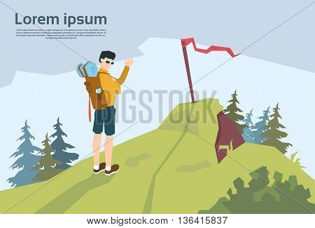 Traveler On Hill Hiker With Rucksack Mountain Background Vector Illustration