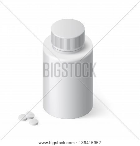 Image of Medical Bottle Template with Medicine on White