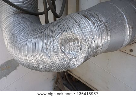 dent of air duct wait for repairing in the factory
