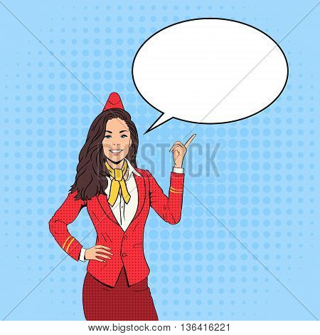 Stewardess Point Finger To Chat Bubble Pop Art Colorful Retro Style Vector Illustration