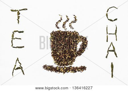 closeup of loose tea letters and teacup