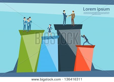 Business People Standing Financial Bar Graph Group Concept Businesspeople Team Vector Illustration
