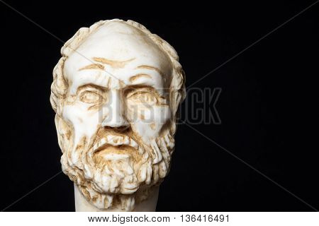 White Marble Bust Of The Greek Philosopher Democritus