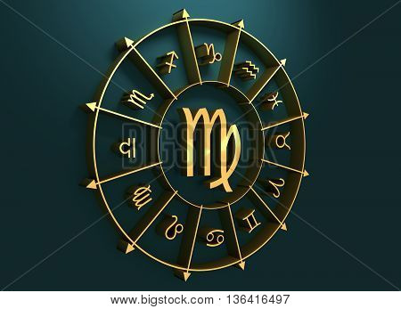 Maiden astrology sign. Golden astrological symbol. 3D rendering