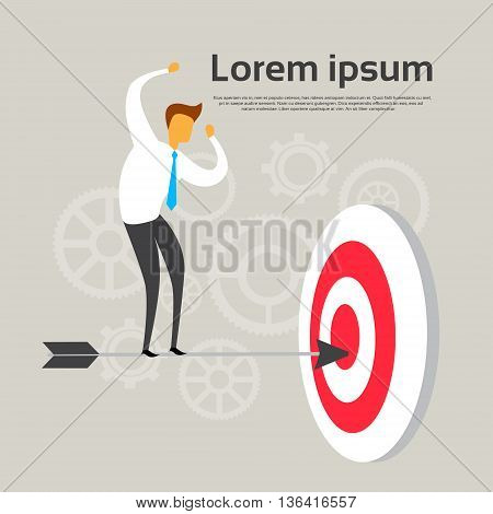 Business Man Stand On Aroow In Target Success Concept Flat Vector Illustration