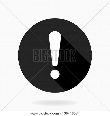 Fine Vector Exclamation Flat Icon in the circle. Flat design and long shadow. Black and white colors
