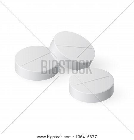 Three Medical Pills on White Background for Design