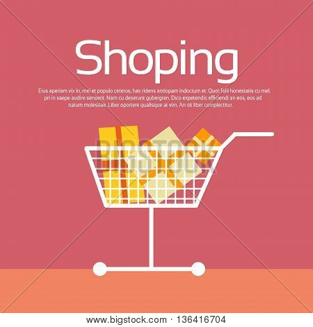 Shopping Trolley Present Box Sale Discount Vector Illustration