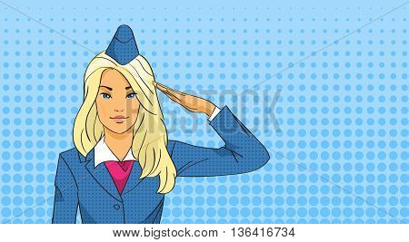 Stewardess Salute Pop Art Colorful Retro Style Vector Illustration