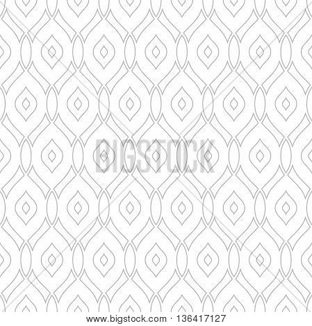 Seamless vector ornament. Modern geometric pattern with repeating light silver wavy lines