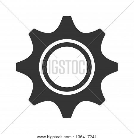 black construction screw front view over isolated background, vector illustration
